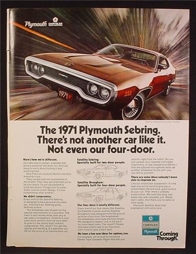 Magazine Ad For 1971 Plymouth Sebring Car, Front & Side View, 1970, 8 1/4 by 11 1/8