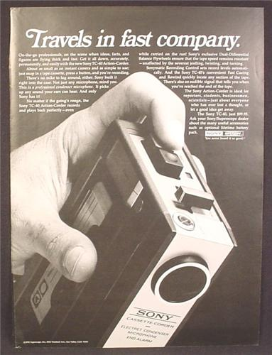 Magazine Ad For Sony TC-40 Cassette Tape Recorder, Cassette-Corder, Corder, 1970