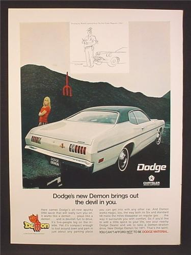 Magazine Ad For Dodge Chrysler Demon Car, Rear & Side View, Brings Out The Devil In You, 1970