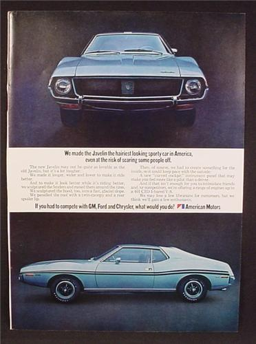 Magazine Ad For AMC American Motors Javelin Car, Front & Side Views, 1970, 8 1/4 by 11 1/8