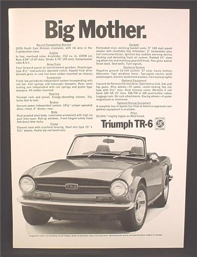 Magazine Ad For Triumph TR-6 Convertible Sports Car, TR6, TR 6, Big Mother, Front View, 1970