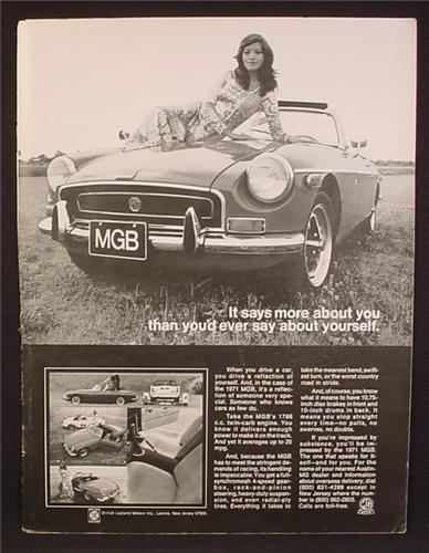 Magazine Ad For MGB Convertible Sports Car, Pretty Woman on Hood, Front View, 1971