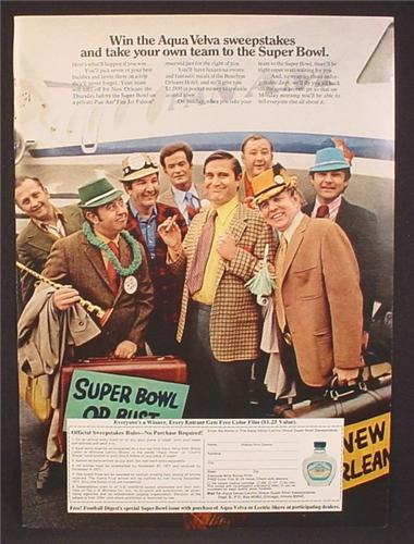 Magazine Ad For Aqua Velva After Shave Super Bowl Sweepstakes Contest, 1971