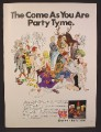 Magazine Ad For Party Tyme Cordial Mixes, Cartoon Illustration by Artist Mort Drucker, 1971