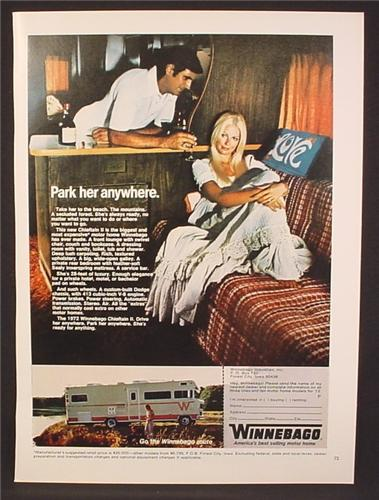 Magazine Ad For Winnebago Motor Home, Sexy Woman on Couch, Park Her Anywhere, 1971
