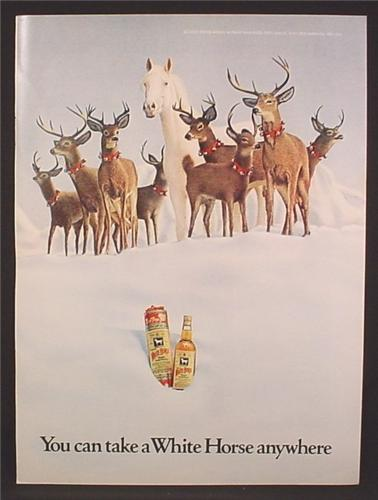 Magazine Ad For White Horse Whiskey, Horse With Reindeer in Snow, 1972, 8 1/4 by 11 1/8
