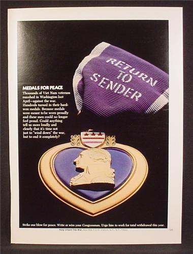 Magazine Ad For Anti Vietnam Protest, Purple Heart Medal, Return To Sender, 1972