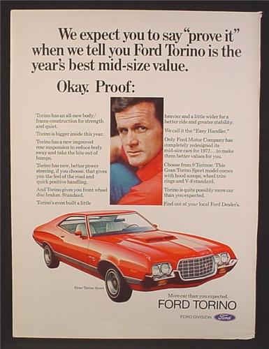 Magazine Ad For Ford Gran Torino Sport Red Car, Front & Side View, 1972, 8 1/4 by 11 1/8