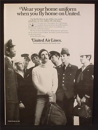 Magazine Ad For United Air Lines, Military Servicemen Fly for Half Fare, Uniforms, 1972