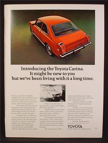 Magazine Ad For Toyota Carina Red Car, Rear & Side View, 1972, 8 1/4 by 11 1/8