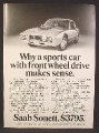 Magazine Ad For Saab Sonett Sports Car, Front Wheel Drive, Front & Side Views, 1972