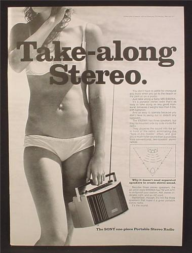 Magazine Ad For Sony MR-9300WA Take-Along Portable Radio, Woman In Bikini, 1972