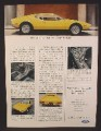 Magazine Ad For Ford Lincoln Mercury De Tomaso Pantera, Yellow Sports Car, 1972