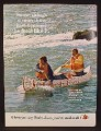 Magazine Ad For Budweiser Beer, Paddling A Canoe Covered In Bud Labels, 1972, 8 1/4 by 11 1/8