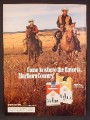Magazine Ad For Marlboro Cigarettes, 3 Cowboys Riding Across Prairie, 1972, 8 1/4 by 11 1/8