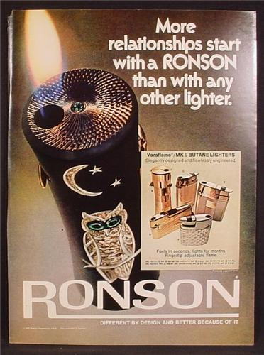 Magazine Ad For Ronson Varaflame Butane Lighters, Ladylite, Adonis, Whirlwind, Starfire, 1972