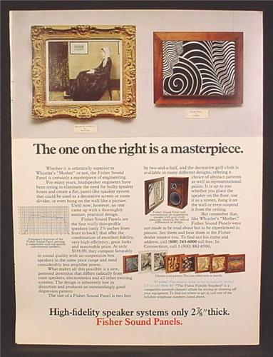 Magazine Ad For Fisher Sound Panels, Hi Fi Speakers That Look Like Art & Hang on The Wall, 1973