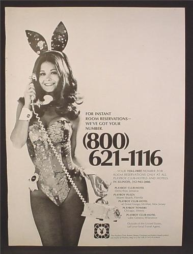Magazine Ad For Playboy Club Hotel, Sexy Woman In Bunny Outfit, Plaza, Towers, 1973