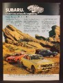 Magazine Ad For Subaru GL Coupe Car, 4 Models, 4 Colors, Parked by Rock Formations, 1973