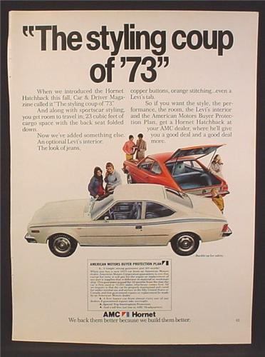 Magazine Ad For AMC Hornet Hatchback Car, Has Levi Denim Interior, , 1973, 8 1/4 by 11 1/8