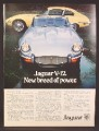 Magazine Ad For Jaguar V-12 Car, V12, V 12, Convertible & Sports Car, Front & Side Views, 1973