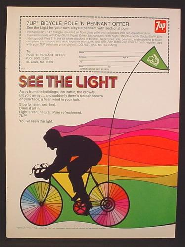 Magazine Ad For 7UP Seven Up, Bicycle Pole & Pendant Offer, See The Light, 1973