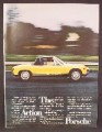 Magazine Ad For Porsche 914 Sports Car, Yellow, Side View, The Action Porsche, 1973