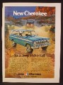 Magazine Ad For Jeep New Cherokee, It's A Jeep And A Half, Blue, Side & Front View, 1973