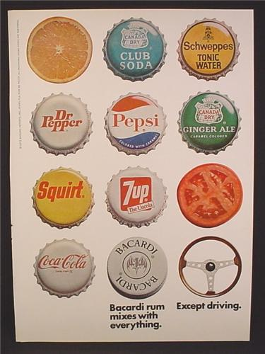 Magazine Ad For Bacardi Rum Mixes With Everything Except Driving, Bottle Caps Soft Drinks, 1973