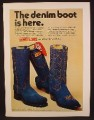 Magazine Ad For Acme & Dingo Western Denim Boot, Blue Suede Boots, 1974, 8 1/4 by 11 1/8