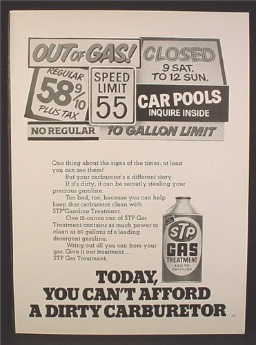 Magazine Ad For STP Gas Treatment, Gas Shortage Related Signs, 1974, 8 1/4 by 11 1/8
