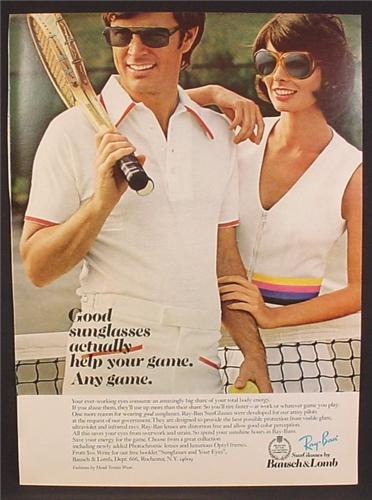 Magazine Ad For Bausch & Lomb Ray-Ban Sunglasses, Couple Playing Tennis, Ray Ban, 1974