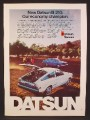 Magazine Ad For Datsun B-210 Hatchback Car, Rear & Side Views, Economy Champion, 1974
