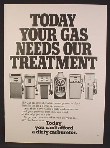 Magazine Ad For STP Gas Treatment, Can Between Row Of Gas Pumps, 1974, 8 1/4 by 11 1/8