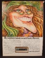 Magazine Ad For Marantz Stereo Receiver, Model 4230, Hippy Girl In Granny Glasses, Cartoon  1974