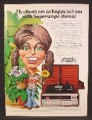 Magazine Ad For Marantz Superscope Stereo, NYU Student With Plants, Cartoon Face, 1974,