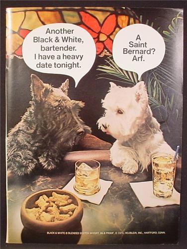 Magazine Ad For Black & White Scotch, Scottish Terriers Dogs At The Bar, Heavy Date, 1974