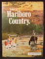 Magazine Ad For Marlboro Cigarettes, Cowboy On Horse Drinking From A River, 1974