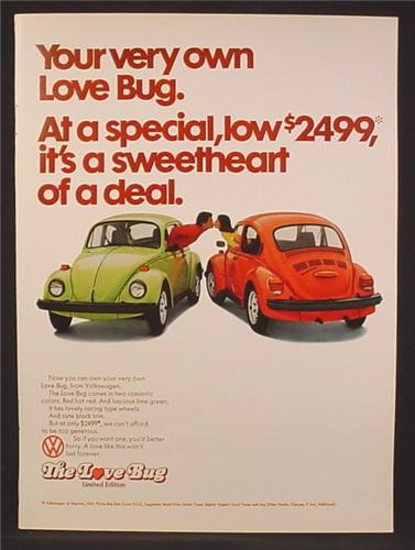 Magazine Ad For VW Volkswagen Beetle Car, The Love Bug, Couple Lean Out From Bugs Kiss, 1974