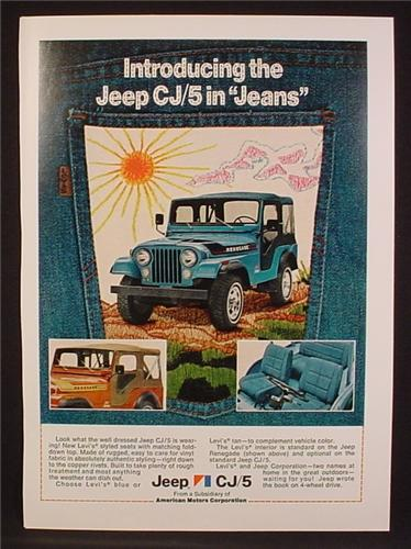 Magazine Ad For Jeep Renegade CJ5 in Jeans, Levi Denim Interior, Picture On Jean's Pocket, 1974