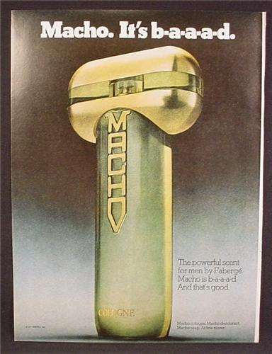 Magazine Ad For Macho Cologne, Fragrance, Phallic Shaped Bottle, It's Baaad, 1977