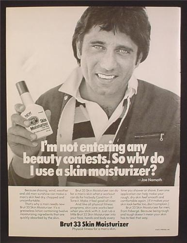 Magazine Ad For Brut 33 Skin Moisturizer, Joe Namath, Celebrity Endorsement, 1977