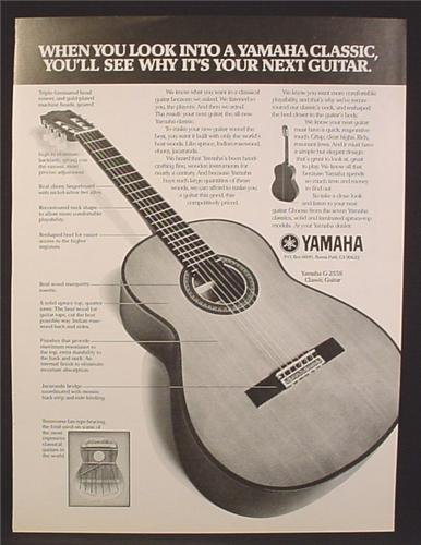 Magazine Ad For Yamaha Classic Model G-255S 6 String Acoustic Guitar, G255S, G 255S, 1977