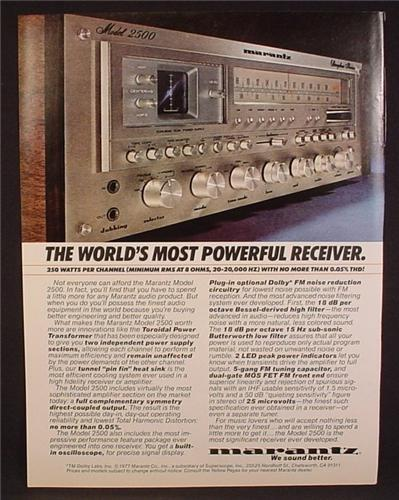 Magazine Ad For Marantz Model 2500, The World's Most Powerful Receiver, Stereo, 1977