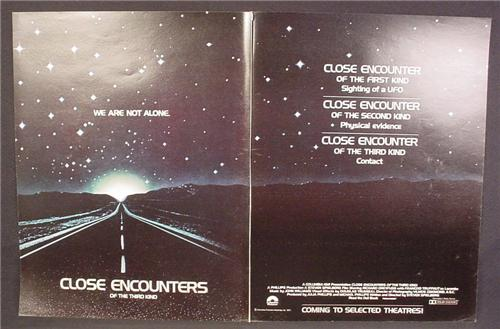 Magazine Ad For Close Encounters Of The Third Kind Movie We Are Not Alone, 1977, Double Page