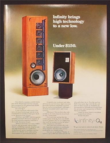 Magazine Ad For Infinity Qa Stereo Speaker System, Wood Tower with Speakers, 1977