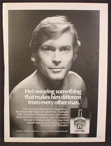 Magazine Ad For Mon Triomphe Cologne, Fragrance, Makes Him Different From Other Man, 1977