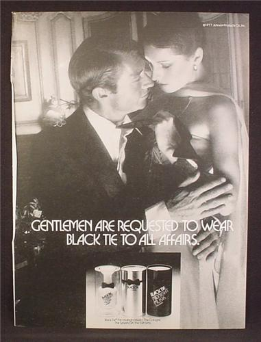 Magazine Ad For Black Tie Cologne, Fragrance, Couple In Evening Wear, 1977, 8 1/8 by 10 7/8