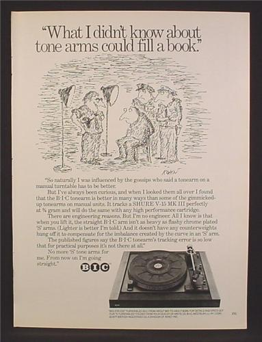 Magazine Ad For BIC Stereo Turntable, B-I-C, Cartoon, What I Didn't Know About Tone Arms, 1977
