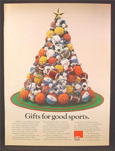 Christmas Tree Balls.Magazine Ad For Voit Sports Equipment Piled In The Shape Of A Christmas Tree Balls 1977